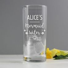 Personalised Mermaid Water Hi Ball Glass P0107E31